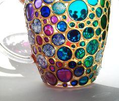 Inicial colector de café taza sol Multi color burbujas taza