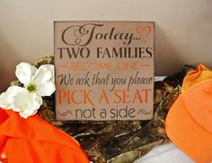 Camo Wedding Decor Sign Today Two by FairytaleDecorDesign on Etsy