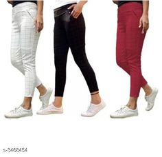 Jeggings Fashionable Lycra Women's Jeggings (Pack Of 3) Fabric: Lycra Size: Up To 28 in To 34 in ( Free Size ) Length: Up To 38 in Type: Stitched Description: It Has 3 Pieces Of Women's Jeggings Pattern:  Checkered Country of Origin: India Sizes Available: 28, 30, 32, 34, 36 *Proof of Safe Delivery! Click to know on Safety Standards of Delivery Partners- https://ltl.sh/y_nZrAV3  Catalog Rating: ★4 (5278)  Catalog Name: Athena Fashionable Lycra Women'S Jeggings Combo Vol 18 CatalogID_482677 C79-SC1033 Code: 706-3468454-