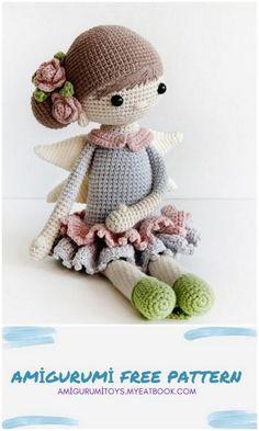 Crochet Monkey Pattern, Doll Amigurumi Free Pattern, Crochet Amigurumi Free Patterns, Amigurumi Doll, Crochet Toys, Crochet Fairy, Cute Crochet, Crochet Doll Tutorial, Crochet Dollies