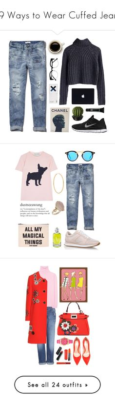 """19 Ways to Wear Cuffed Jeans"" by polyvore-editorial ❤ liked on Polyvore featuring cuffedjeans, waystowear, Abercrombie & Fitch, NIKE, Chanel, MAC Cosmetics, KEEP ME, women's clothing, women and female"