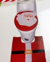 Novelty Felt Christmas Santa Toilet Seat Cover And Matching Loo Mat
