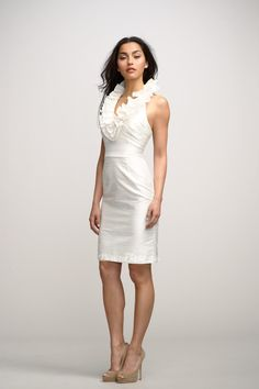 V-neck Sleeveless Sheath Short Low Back Bridesmaid Dress at dressesplaza.com Item: 	11011 List Price: 	$ 365.00 Our Price: 	$152.00
