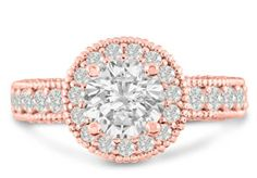2ct Halo Diamond Engagement Ring Crafted in 14 Karat Rose Gold