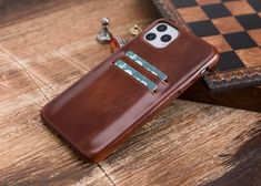 Iphone Leather Case, Iphone Wallet Case, Iphone 7 Plus Cases, Iphone 11, Phone Case, Handmade Leather Wallet, Letter, Brown, Free Shipping