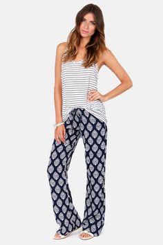 Lucy Love Santa Cruz Navy Blue Print Pants