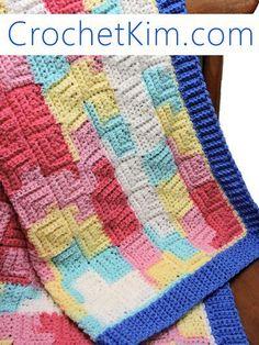 CrochetKim Free Crochet Pattern | Patchwork Baby Blanket @crochetkim Done in one piece
