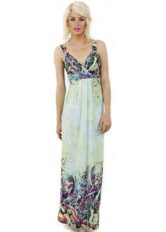 Green Fantasy Floral Print Maxi Dress