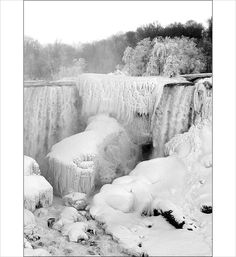Niagara Falls, Buffalo, New York - has only frozen a couple times in history.  I have seen huge ice and snow chunks going over the falls.... wow....