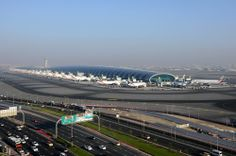 Dubai Airport at dusk.