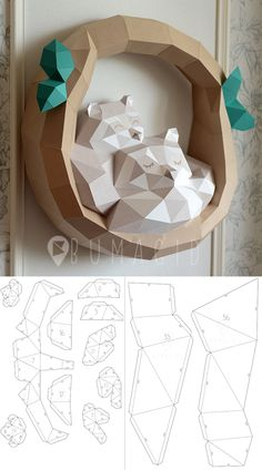 Paper Discover Еноты papercraft raccoon pepakura Low Poly Paper Sculpture DIY gift Decor for home and office pattern template handmade animals Paper Crafts Origami, Diy Paper, Diagrammes Origami, Fun Crafts, Diy And Crafts, Paper Animals, Diy Gifts, Handmade Gifts, Paper Folding
