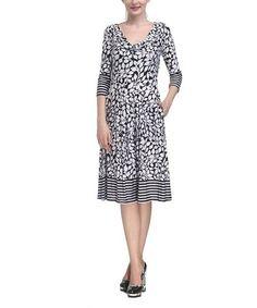 Look at this #zulilyfind! Black & White Foliage Stripe Drape Dress by Reborn Collection #zulilyfinds