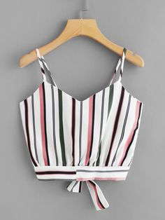 Tie Back Striped Crop Cami TopFor Women-romwe Teenage Girl Outfits, Teenager Outfits, Outfits For Teens, Trendy Outfits, Summer Outfits, Preteen Fashion, Teen Fashion Outfits, Cute Comfy Outfits, Cool Outfits