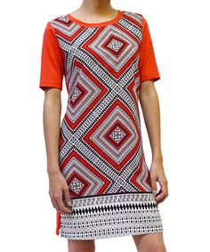 Another great find on #zulily! Orange & Black Geometric Shift Dress by Potter's Pot #zulilyfinds