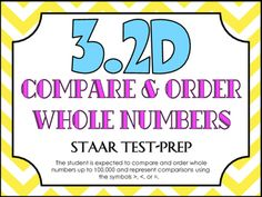 STAAR+Test-Prep+Task+Cards!TEKS+ALIGNED:+3.2D+(Readiness+Standard):+The+student+is+expected+to+compare+and+order+whole+numbers+up+to+100,000+and+represent+comparisons+using+the+symbols+>,+<,+or+=.THIS+INCLUDES:+-20+multiple+choice+test-prep+task+cards-Answer+key-Student+recording+sheet*These+cards+are+a+great+way+to+assess+student+understanding+and+prepare+for+the+STAAR+test!+**All+questions+are+directly+aligned+to+the+3rd+Grade+Math+STAAR+Test!*Since+this+is+one+of+the+READINESS+TEKS,...