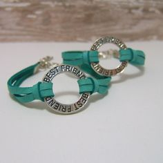 Turquoise Deerskin Leather Bracelets - TWO -  BEST FRIEND Affirmation Ring -  Lobster Clasp Closure & Extender Chain - Genuine Leather