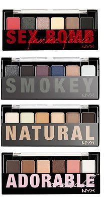 4 NYX Eye Shadow Palette 6 color Full Set Natural, Smokey, Adorable and Sex Bomb