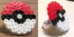 Pokemon Pokeball Perler Bead Ring.