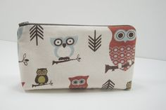 Owl Accessory Pouch Owl Cosmetic Bag Cosmetics by moxiebscloset
