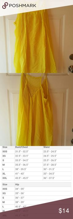"Neon Yellow Summer Dress Great light weight summer dress with spaghetti straps. Dress is knee length. Necklace not included. 3X measurements are 46""-48"" and will stretch to 52"". Still in the package. NWOT Dresses High Low"