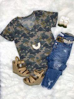 Casual in Camo Top - Light – privityboutique    #streetstyle #cozy #casualstyle #ootdfashion #style #ootd #summerfashion #flannel #blogger #travel #vacationstyle #fashionlover #fashionblogger #summerstyle #boutiquefashion #womensfashionoutfit #summeroutfit #dress #layeringdress #casualstyle #casualfashion #joggers #comfyoutfit #kimono #swimwear #homefashion #summervibes #womensfashion #onlineshopping #onlineboutique New Outfits, Spring Outfits, Cute Outfits, Fashion Outfits, Shop This Look Outfits, Late Summer Outfits, Everyday Casual Outfits, Casual Outfits For Moms, Camo Fashion