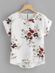 Shop Plus Floral Print Cut Out Back Asymmetrical Hem Blouse online. SHEIN offers Plus Floral Print Cut Out Back Asymmetrical Hem Blouse & more to fit your fashionable needs. Floral Blouse, Printed Blouse, Floral Tops, Floral Prints, Floral Fabric, Plus Size Blouses, Plus Size Tops, Plus Size Women, Plus Size Clothing Stores
