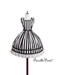Beetle Juice Stripe ruffle dress Tim Burton Black by priscilladawn, $192.00