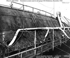 The righting and refloating of the capsized battleship USS Oklahoma was the largest of the Pearl Harbor salvage jobs Uss Oklahoma, Remember Pearl Harbor, Uss Arizona Memorial, Us Battleships, Pearl Harbor Attack, Cover Pics, Sea World, World War Ii, American History
