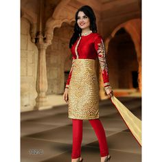Buy Louis Vogue Red And Gold Net Semi Stitched Suit by LOUIS  VOGUE, on Paytm, Price: Rs.1399?utm_medium=pintrest