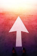 Directional arrow pointing forward stock photo