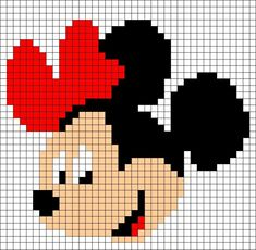 "Minnie Mouse perler bead pattern - Crochet / knit / stitch charts and graphs [ ""quick and simple for cards - add sparkle"", ""Learn to make your own colorful bracelets of threads or yarn. As fun for beginners as it is to intermedates. Knitting Charts, Knitting Stitches, Baby Knitting, Embroidery Stitches, Embroidery Patterns, Knitting Patterns, Simple Embroidery, Blanket Patterns, Knitting Yarn"