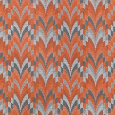 Coltrane Chenille Fabric An impressive woven fabric with a stylised plume depicted in orange chenille against an off-white and donkey coloured woven ground. The design is named after the saxophonist John Coltrane, also known as 'Trane'.