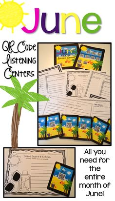 June QR Code Listening Center - QR Codes are linked to safe viewing picture books.  The books read the stories to the students.  There is an additional activity sheet for each book so students spend more time in the center than just listening to the story.