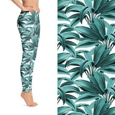 3738a0eaf3998 Printed Leggings with Tropical Palm Leaves design in Sizes S, M, L, &