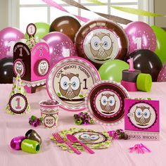 Owl party pack for a Girl's First birthday