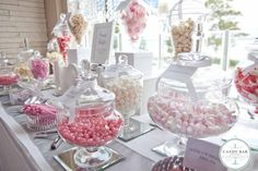 Pink and white wedding candy buffet