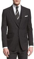 Tom Ford Buckley Base Pinstripe Three-Piece Wool Suit, Charcoal