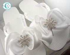Bridal Flip Flops Ivory Wedge Wedding Flip by BridalFlipFlops