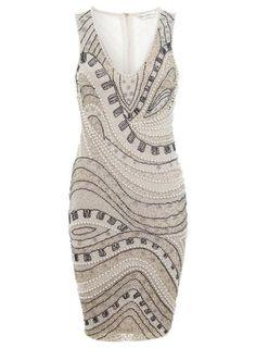 Nudefarbenes Kleid mit Wellenverzierung