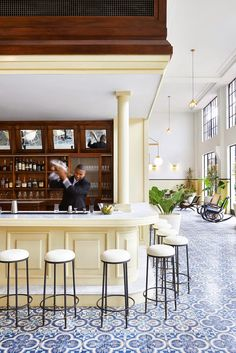 Have you seen these photos of the American Trade Hotel, in Panama, the latest outpost of the über cool Ace Hotel group? It opened this fall in Panama city, occupying a restored landmark building i… Ace Hotel, Hotel Lobby, Lobby Bar, Hotel Spa, Architecture Restaurant, Hotel Restaurant, Restaurant Design, Eclectic Restaurant, Panama City Hotels