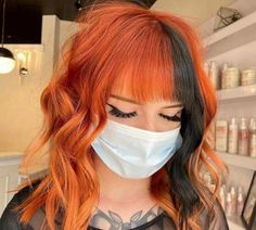 Spice up Your Summer Look With These Copper Hair Colors Two Color Hair, Hair Color Streaks, Hair Dye Colors, Color Block Hair, Girl Hair Colors, Short Grunge Hair, Short Hair, Halloween Hair, Dye My Hair