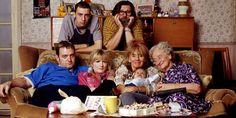 The Royle Family. Image shows from L to R: Dave Best (Craig Cash), Antony Royle (Ralf Little), Denise Royle / Best (Caroline Aherne), Jim Royle (Ricky Tomlinson), Barbara Royle (Sue Johnston), Norma Speakman (Liz Smith).