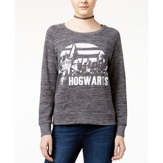 Bioworld Juniors' Harry Potter Hogwarts Graphic Sweatshirt ($15) ❤ liked on Polyvore featuring tops, hoodies, sweatshirts, charcoal heather, graphic tops, graphic sweatshirts and bioworld