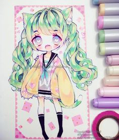 """Happy weekend everyone (○´3`)ノ. I haven't drawn Emmy since February and I feel like she is one of my OCs I am neglecting... but I rarely make refsheets for most characters I draw that I also want a persona for, so I'm not sure if I can still call them my OCs because they have no references beyond some drawings and names... *internal screaming and external sweating*. . . #copicmarkers #cansonpaper (""""illustration"""") #micronpen #copicmultiliner #whitegelpen (gellyroll) #washitape"""