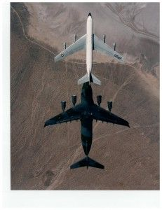 First ever C-17, tail-number 87-0025, performs aerial refueling flight test with a KC-135 over Edwards AFB, California