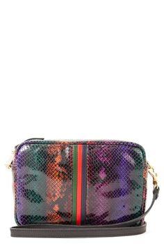 Clare V Midi Sac Snake Embossed Leather Crossbody Bag In Multi Purple Snake, Lance Black, Racing Stripes, Smart Styles, Purple Bags, Black Canary, Emboss, Italian Leather, Leather Crossbody Bag