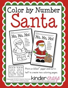 FREE Color by Number Santa page from Kinder-Craze