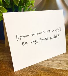 Excited to share the latest addition to my shop: Will you be my bridesmaid card, Be my Bridesmaid card, Funny bridesmaid card , Hand lettered card, bridal party card Asking Bridesmaids, Bridesmaid Gift Boxes, Bridesmaid Proposal Cards, Be My Bridesmaid Cards, Bridesmaids And Groomsmen, Bridesmaid Gifts Will You Be My, Ask Bridesmaids To Be In Wedding, Bridesmaid Ideas, Cheap Bridesmaid Gifts