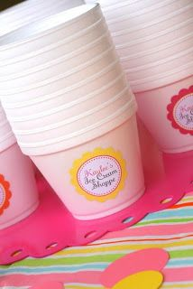 Labels for ice cream cups- ice cream birthday party