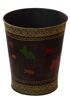 "Bulk Wholesale Handmade 11"" Iron Planter / Flower Vase in Black Decorated with Painting of Colorful & Traditional-Look Motifs in Fish Design – Antique-Look Home Décor from India"
